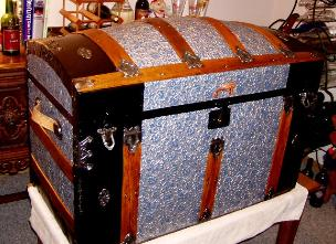 After pic of blue/silver dome top trunk